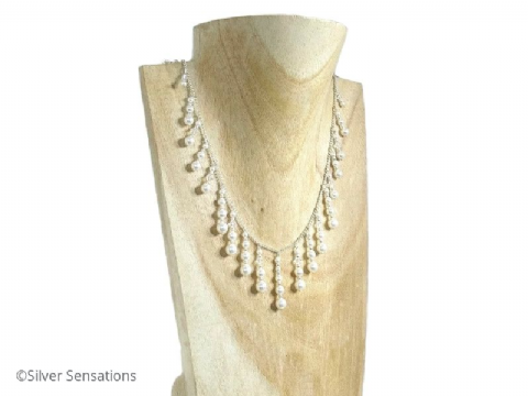 Designer Swarovski Crystals & Pearls Drops Handmade Sterling Silver Bridal Necklace